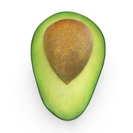Avocado Half Whith Seed Isolated on White Background 3D Illustration