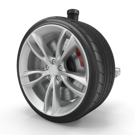 Car Rear Suspension with Wheel Isolated on White Background 3D Illustration