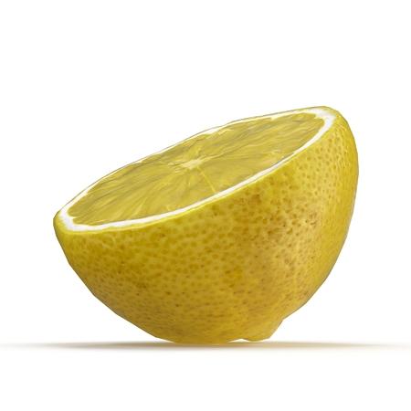Lemon Half on White Backgroud 3D Illustration Isolated