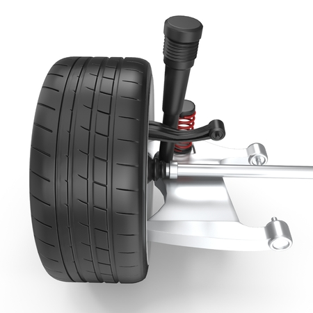 Car Rear Suspension with Wheel on White Background 3D Illustration Isolated