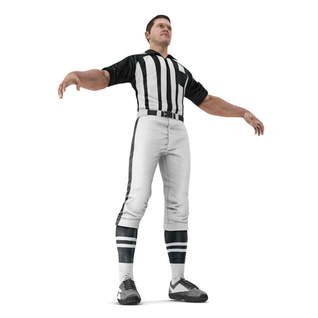 American Football Referee on White Background 3D Illustration Isolated Stock Photo