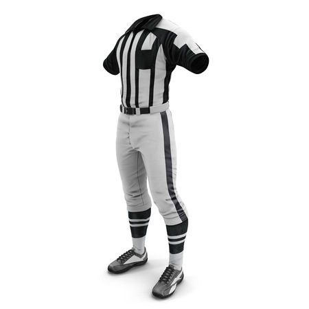 American Football Referee Uniform on White Background 3D Illustration Isolated