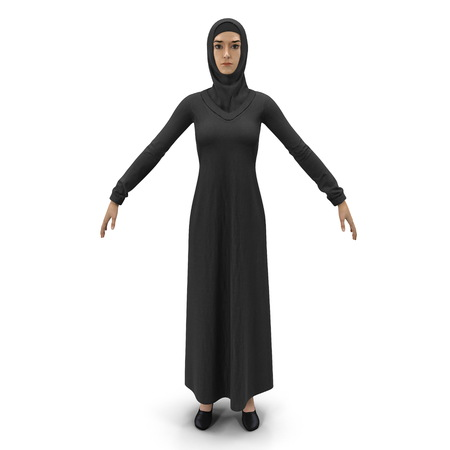 Arab Young Women on White Background 3D Illustration Isolated