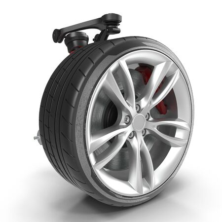 Car Front Suspension With Wheel 3D Illustration Isolated