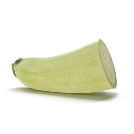Zucchini Half on White Background 3D Illustration Isolated Zdjęcie Seryjne - 128053835