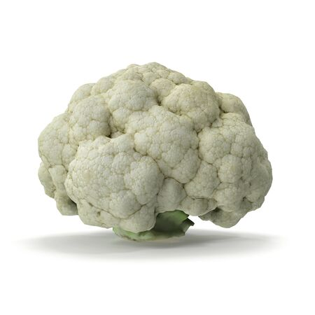 Cauliflower Isolated on White Background 3D Illustration Zdjęcie Seryjne - 128055316
