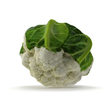 Cauliflower on White Background 3D Illustration Isolated Imagens - 128054970