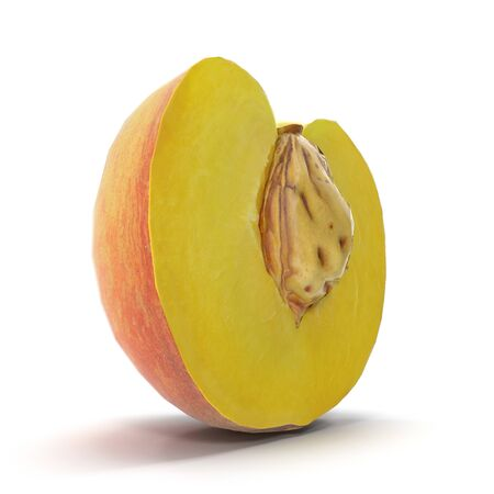 Half of Peach With Seed on White Background 3D Illustration Isolated Imagens - 128054852