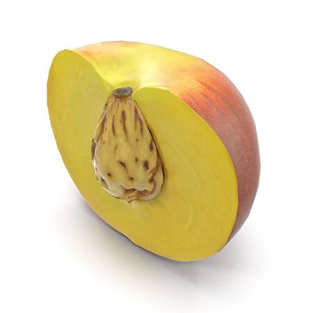 Half of Peach With Seed on White Background 3D Illustration Isolated Imagens - 128054858