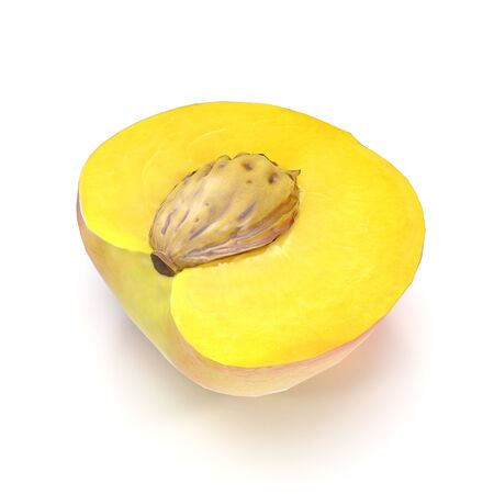 Half of Peach With Seed on White Background 3D Illustration Isolated Imagens