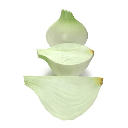 Onion Collection on White Background 3D Illustration Isolated