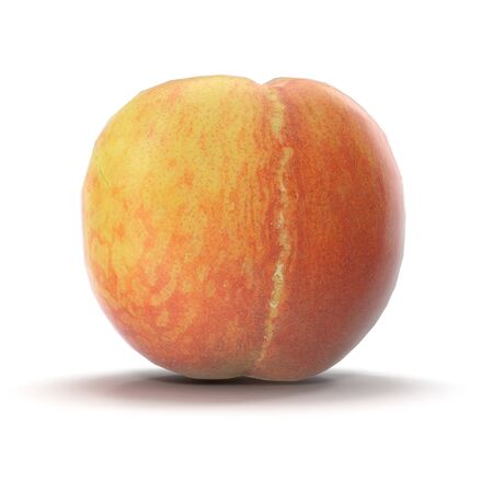 Peach on White Background 3D Illustration Isolated Imagens