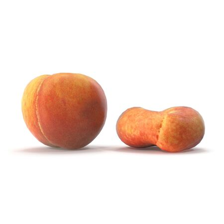 Peach Collection on White Background 3D Illustration Isolated