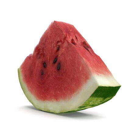 Watermelon Slice on White Background 3D Illusration Isolated
