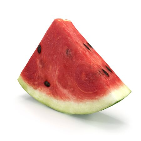 Watermelon Slice on White Background 3D Illusration Isolated Imagens - 128054656