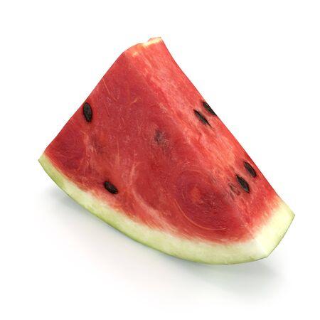 Watermelon Slice on White Background 3D Illusration Isolated Imagens - 128054657