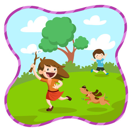 illustration of a kids playing