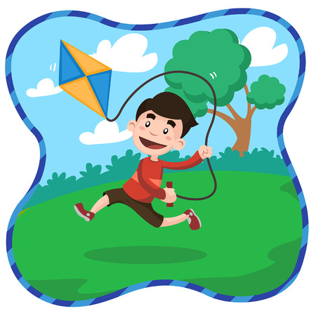 illustration boys playing kites in the park