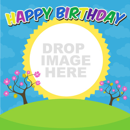 happybirthday: Vector birthday trees party card Illustration