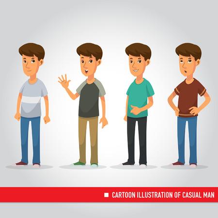 Cartoon Illustration of casual man Ilustracja