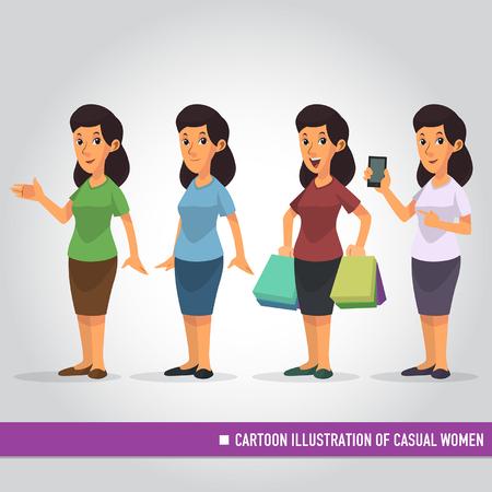 Cartoon Illustration of Casual Women