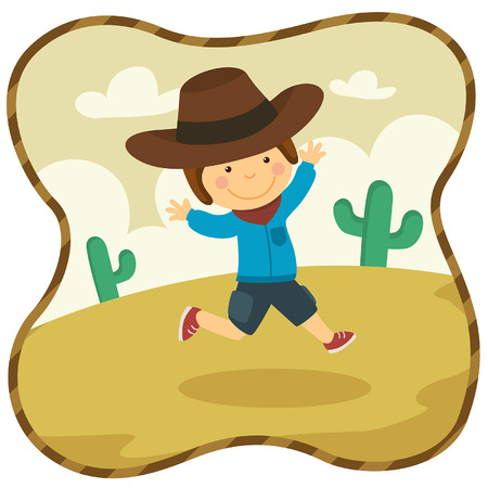 Illustration Cute Cowboy playing at Desert