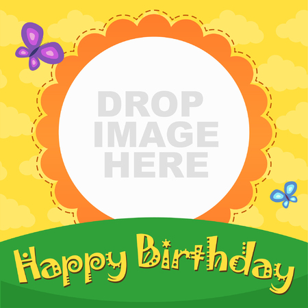 green day baby blue background: Vector Happy Birthday Party Card - With Butterfly