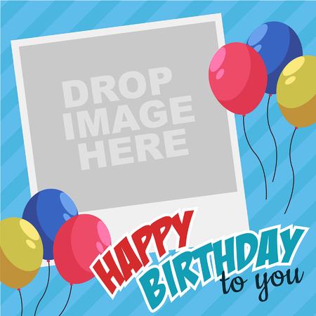 ベクター幸せな誕生日パーティー カード - ビンテージ写真
