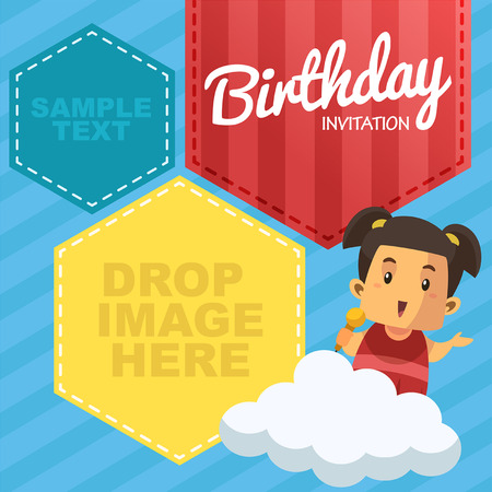 Vector Birthday Party Invitation Card - With Cute Girl