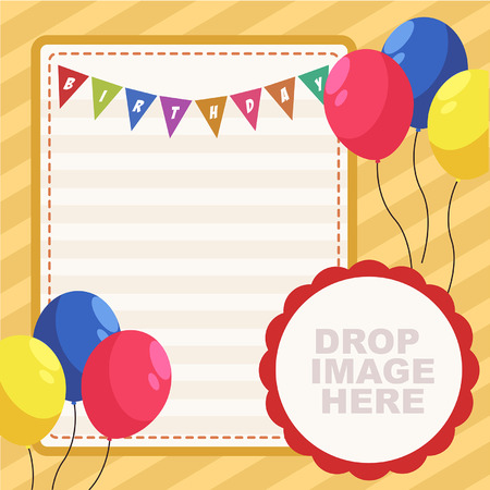 Vector Colorfull Birthday Party Card With Flag and Balloons