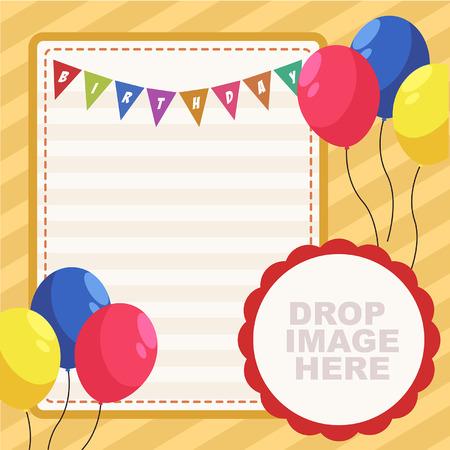 Vector Full-Geburtstags-Party-Karte mit Flagge und Ballone Vektorgrafik