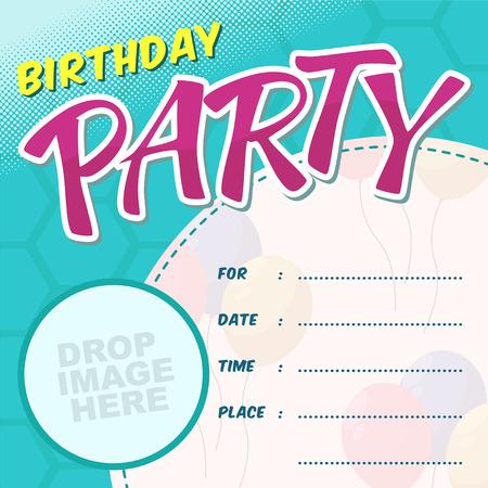 Vektor-Geburtstags-Party-Karte Invitationn mit Ballon - Blau Vektorgrafik