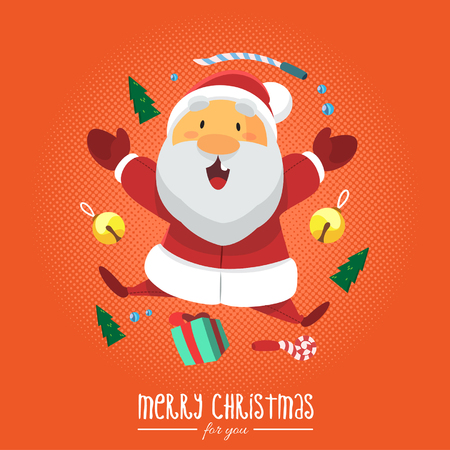 three wishes: Vector - Illustration Santa Clause with Christmas Gift and Orange Background