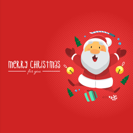 Vector - Illustration Santa Clause with Christmas Gift and Red Background