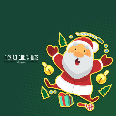 Vector - Illustration Santa Clause with Christmas Gift and Green Background Illustration