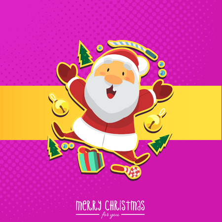 Vector - Illustration Santa Clause with Christmas Gift and Pink Background