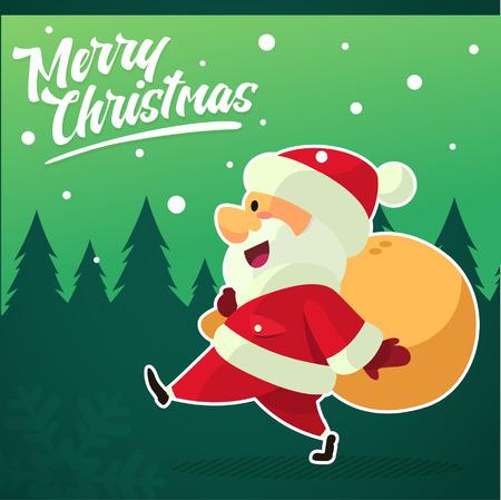hang up: Vector - Illustration Walking Santa Clause with Christmas Bag and Green Background Illustration