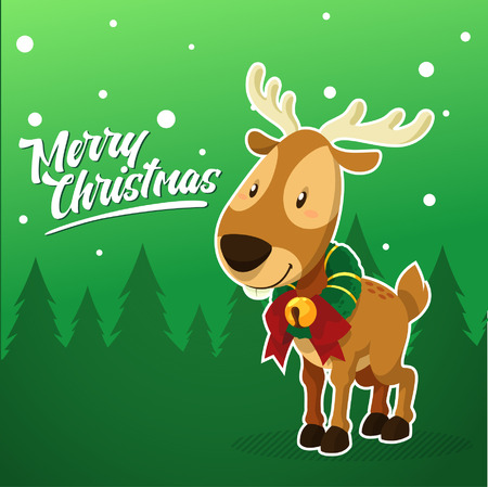 hang up: Vector - illustration of Cute Christmas Reindeer and Green Background Illustration