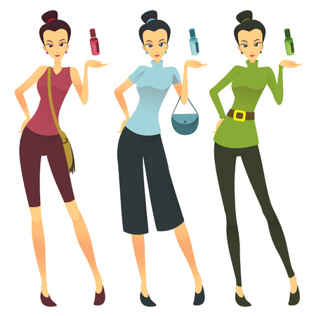 Vector - stylized illustration of a beautiful young woman with tube perfume bottle