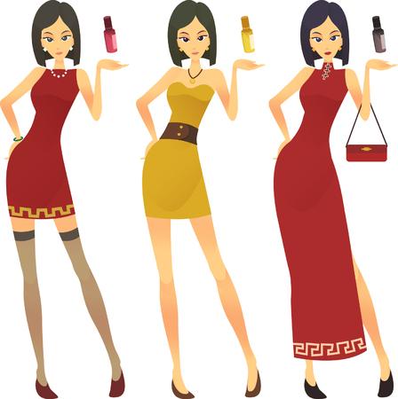 Vector - stylized illustration of a beautiful short hair girl with tube perfume bottle Ilustração