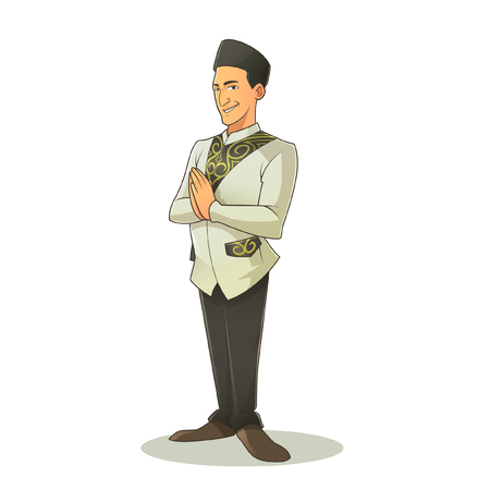 caligraphy: Vector Character - Muslim Man During Eid Mubarak ( without background )