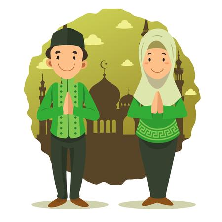 Character - Happy Muslim kid cartoon ( brown mosque background ) Ilustração