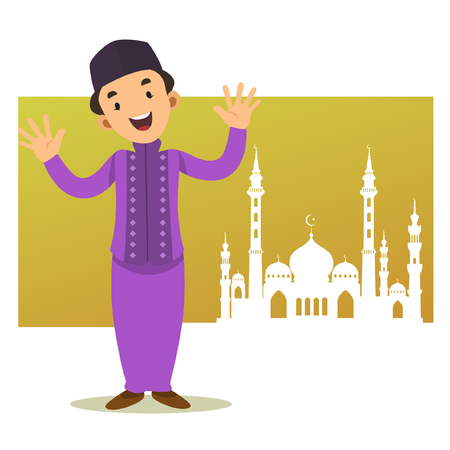 Character - Happy Muslim kid cartoon ( yellow silhouette mosque background )