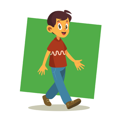 arms folded: Vector Character - Boy with red tshirt ( square green background )