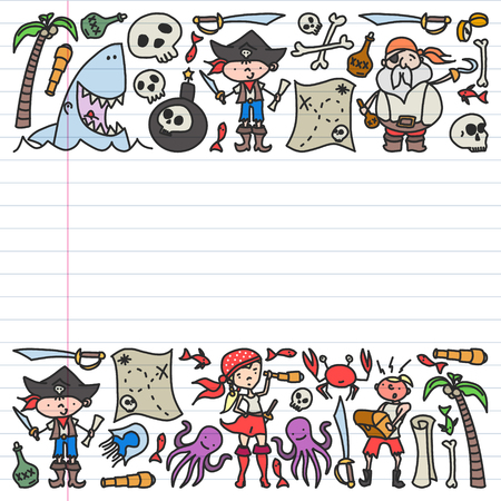Vector set of pirates children's drawings icons in doodle style. Painted, colorful, pictures on a piece of linear paper on white background Illustration