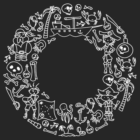 Insieme di vettore delle icone dei disegni dei bambini dei pirati in stile doodle. Immagini dipinte, monocromatiche nere, gesso su una lavagna. Vettoriali