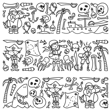 Vector set of pirates children's drawings icons in doodle style. Painted, black monochrome, pictures on a piece of paper on white background Illustration