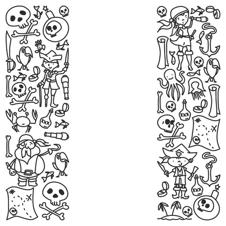 Vector set of pirates children's drawings icons in doodle style. Painted, black monochrome, pictures on a piece of paper on white background Vektoros illusztráció