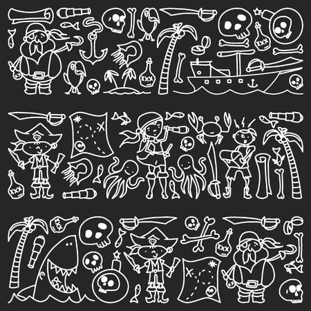 Vector conjunto de iconos de dibujos infantiles piratas en estilo doodle. Pintado, monocromo negro, imágenes de tiza en una pizarra
