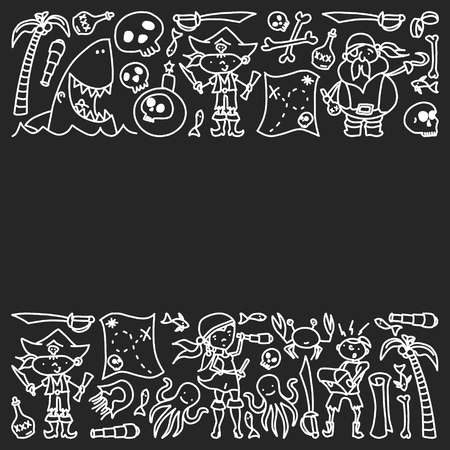 Vector set of pirates children's drawings icons in doodle style. Painted, black monochrome, chalk pictures on a blackboard Illustration